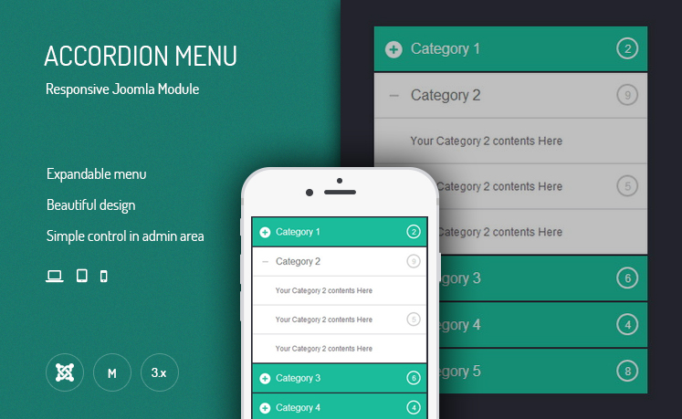 JUX Accordion Menu - Responsive Joomla Module