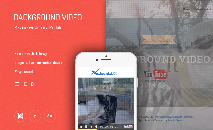 JUX Background Video - Responsive Joomla Module