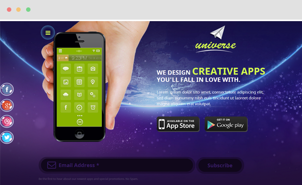 Universe - Responsive Mobile Apps Joomla Template